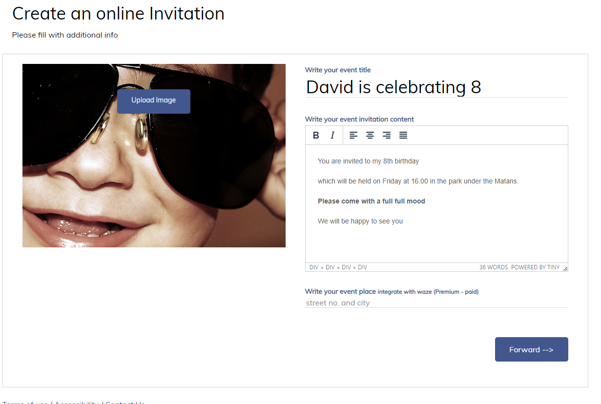 Creating online invitation / digital invitation